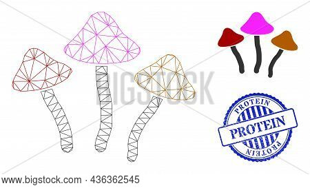 Web Mesh Psychedelic Mushrooms Vector Icon, And Blue Round Protein Grunge Watermark. Protein Waterma