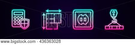 Set Line Security Keypad Access Panel, House Plan, Electrical Outlet And Crane Hook. Glowing Neon Ic