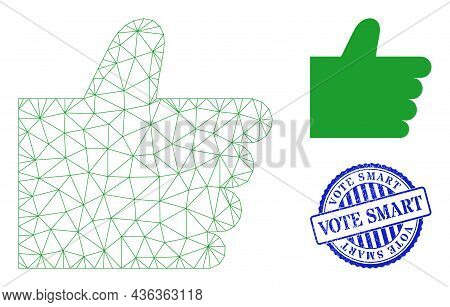 Web Mesh Thumb Up Vector Icon, And Blue Round Vote Smart Rubber Badge. Vote Smart Imprint Uses Round