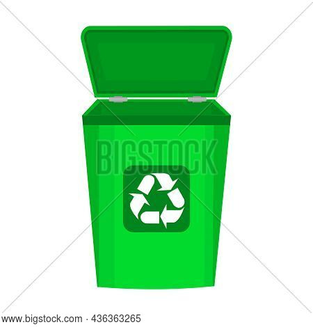 Recycle Bin Isolated On White Background. Empty Rubbish Container With Reuse Use Sign. Blank Green T