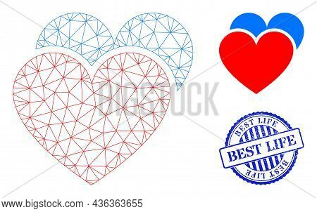 Web Mesh Love Hearts Vector Icon, And Blue Round Best Life Rough Stamp Seal. Best Life Stamp Seal Us