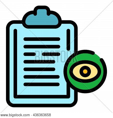 Optometry Clipboard Icon. Outline Optometry Clipboard Vector Icon Color Flat Isolated
