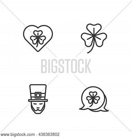 Set Line Clover Trefoil Leaf, Leprechaun, Heart With Clover And Icon. Vector