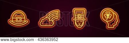 Set Line Leprechaun Hat, Rainbow With Cloud, And Head Clover Trefoil Leaf. Glowing Neon Icon. Vector