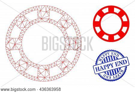 Web Net Casino Chip Vector Icon, And Blue Round Happy End Grunge Stamp. Happy End Stamp Uses Round S