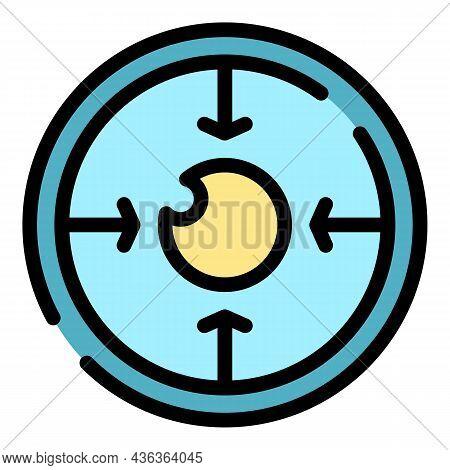 Focus Eye Correction Icon. Outline Focus Eye Correction Vector Icon Color Flat Isolated