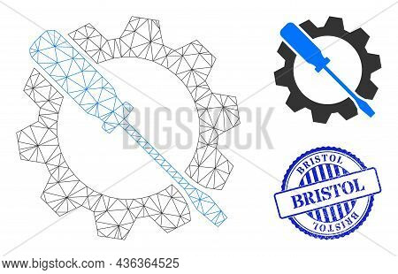 Web Network Wrench Tuning Vector Icon, And Blue Round Bristol Rough Stamp Seal. Bristol Stamp Uses R
