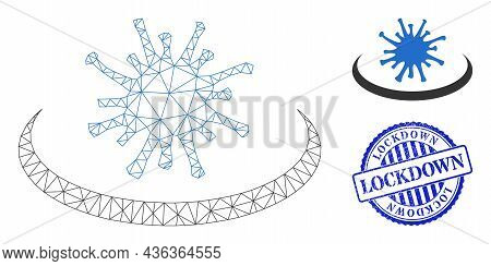 Web Net Virus Area Vector Icon, And Blue Round Lockdown Scratched Stamp Seal. Lockdown Seal Uses Rou