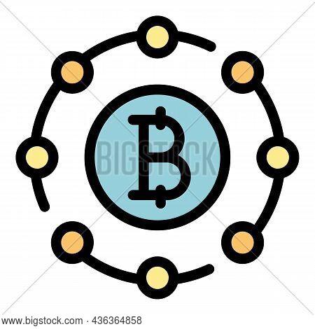 Blockchain Scheme Icon. Outline Blockchain Scheme Vector Icon Color Flat Isolated