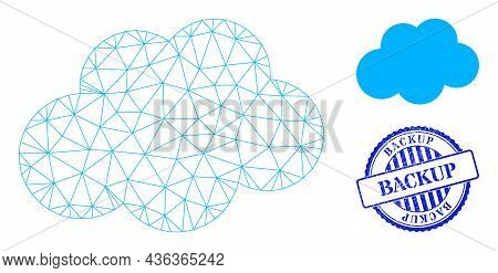 Web Mesh Cloud Vector Icon, And Blue Round Backup Dirty Stamp Print. Backup Stamp Seal Uses Round Sh
