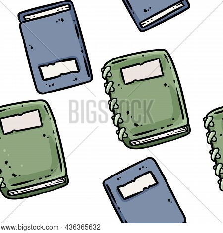 Cute Cartoon Notebooks Doodles Seamless Border Pattern. Vector Repeatable Background Tile. Cozy Craf