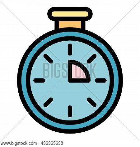 Research Stopwatch Icon. Outline Research Stopwatch Vector Icon Color Flat Isolated