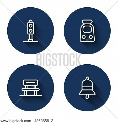 Set Line Train Traffic Light, And Railway, Waiting Hall And Station Bell With Long Shadow. Blue Circ