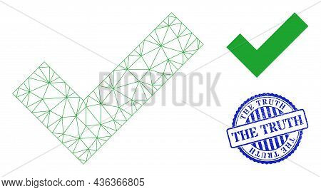 Web Mesh Apply Tick Vector Icon, And Blue Round The Truth Rubber Stamp Imitation. The Truth Stamp Se