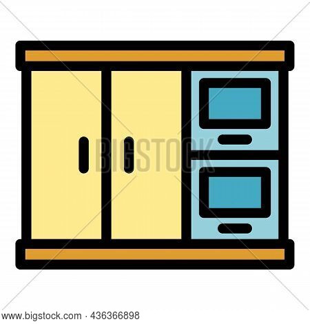 Interior Kitchen Cabinet Icon. Outline Interior Kitchen Cabinet Vector Icon Color Flat Isolated