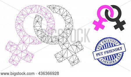 Web Carcass Lesbian Symbol Vector Icon, And Blue Round Pet Friendly Scratched Stamp Seal. Pet Friend