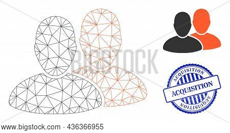 Web Mesh Users Vector Icon, And Blue Round Acquisition Scratched Stamp Seal. Acquisition Seal Uses R