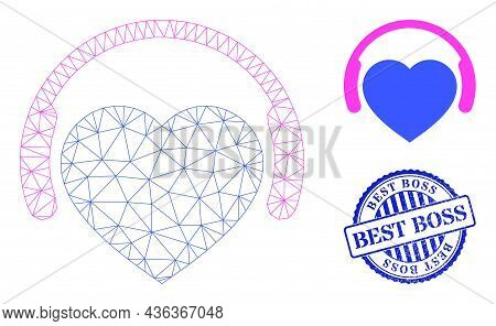 Web Mesh Favourite Headphones Vector Icon, And Blue Round Best Boss Scratched Seal. Best Boss Stamp