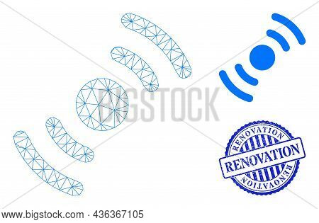 Web Network Air Turbine Rotation Vector Icon, And Blue Round Renovation Corroded Stamp Imitation. Re