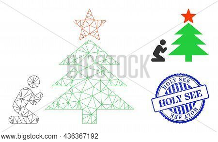 Web Network Pray To Christmas Tree Vector Icon, And Blue Round Holy See Grunge Stamp Seal. Holy See