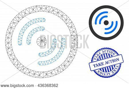 Web Network Rotor Rotation Vector Icon, And Blue Round Take Action Unclean Stamp Seal. Take Action S