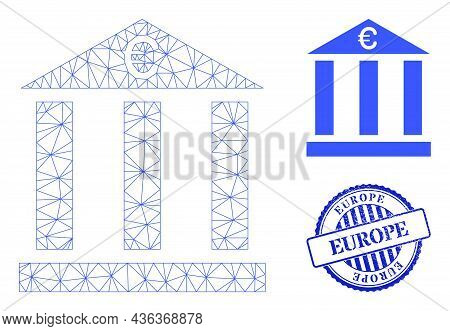 Web Mesh Euro Bank Building Vector Icon, And Blue Round Europe Scratched Stamp Seal. Europe Watermar