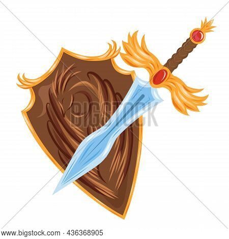 Cartoon Sword And Shield With A Coat Of Arms With A Bird. Protection And Strength. Rich Knightly Uni