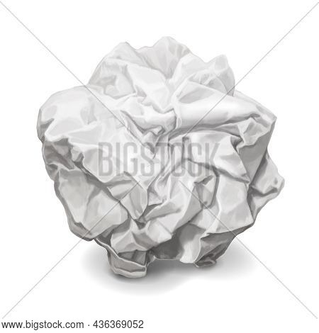 Crumpled Paper, Realistic Wrinkled Paper Ball Isolated Vector