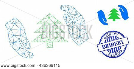 Web Mesh Fir Tree Care Hands Vector Icon, And Blue Round Bribery Textured Stamp. Bribery Seal Uses R