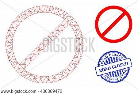 Web Carcass Cancel Vector Icon, And Blue Round Road Closed Dirty Seal. Road Closed Stamp Seal Uses R