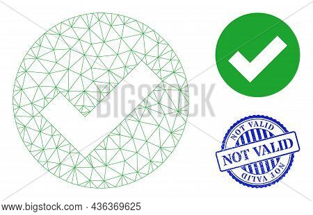 Web Mesh Valid Vector Icon, And Blue Round Not Valid Rubber Stamp. Not Valid Imprint Uses Round Shap