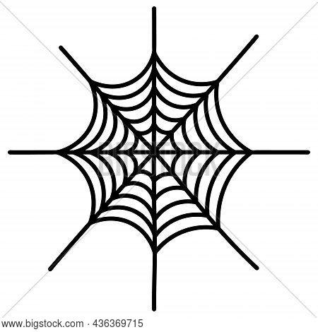 Spiders Web. Silhouette. Vector Illustration. A Sticky Victim Trap. Intricate Network. Hunter's Ambu