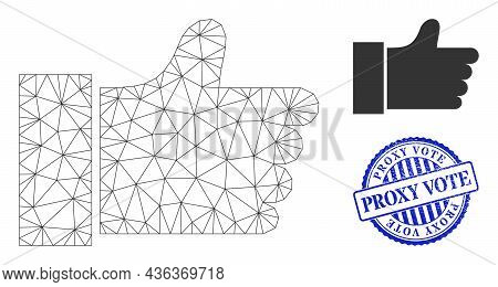 Web Mesh Thumb Up Vector Icon, And Blue Round Proxy Vote Grunge Stamp Imitation. Proxy Vote Watermar
