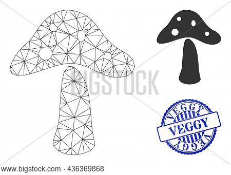 Web Mesh Toxic Mushroom Vector Icon, And Blue Round Veggy Textured Stamp Seal. Veggy Watermark Uses