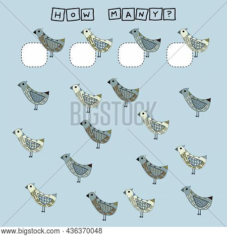 How Many Counting Game With Funny  Bird. Worksheet For Preschool Kids, Kids Activity Sheet, Printabl