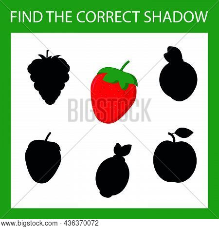Find A Shadow Strawberry Steam Room. Match Fruit With Correct Shadow Preschool Worksheet, Kids Activ