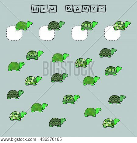 Counting Game For Preschool Children.  Count How Many Turtles