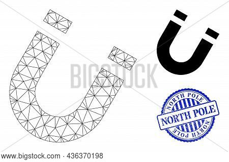 Web Carcass Horseshoe Magnet Vector Icon, And Blue Round North Pole Unclean Stamp Print. North Pole