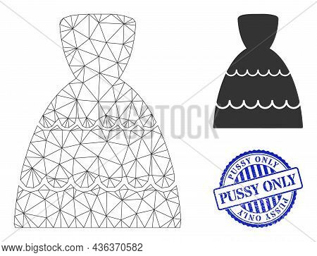 Web Carcass Bride Dress Vector Icon, And Blue Round Pussy Only Textured Stamp Seal. Pussy Only Stamp