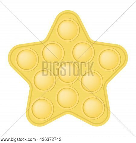 Popit A Fashionable Silicon Yellow Star Fidget Toy. Addictive Anti-stress Star Toy In Pastel Colors.