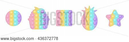 Set Of 5 Forms Pop It A Fashionable Silicon Toys For Fidgets. Addictive Anti-stress Toy In Pastel Co