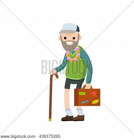 Old Senior Man In Shorts And Hat On Vacation. Suitcase In Hand For Travel. Retirement. Journey To So