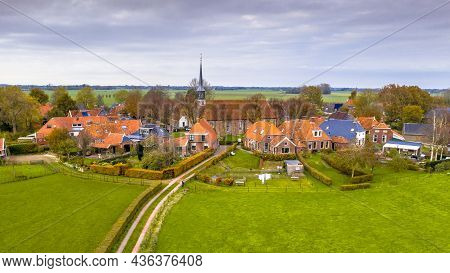 Aerial View Of Streets In Hamlet Of Niehove Historical Dwelling Mound Village, Groningen Province, T