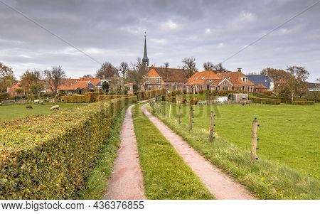 Neighborhood Scene Of Street In Hamlet Of Niehove Historic Dwelling Mound Village, Groningen Provinc