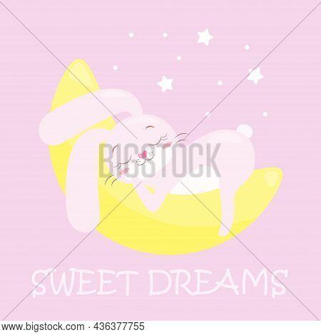 A Cute Baby Image With A Small Bunny, A Cartoon Animal, A Cartoon Bunny That Sleeps Or Dozes On The