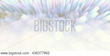 3D digital Illustration. Defocus Abstract light blur blink sparkle horizontal backgound.