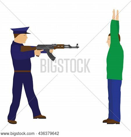 Police Officer And Detainee. Policeman And Criminal.