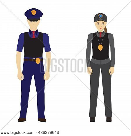 Police Man And Police Woman. Police. Police Officers. Police Uniform. Police Officers In Body Armor.