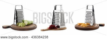 Set With Stainless Steel Graters And Fresh Products On White Background. Banner Design