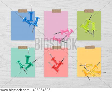 Multicolor Drawing Pins And Cards Of Similar Shades On White Wooden Background, Collage. Montessori